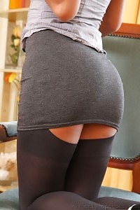 Amazing Glassed Secretary In Foggy Nylons