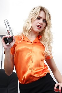Young Blonde Hottie Playing With A True Gun