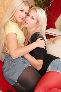 Jana And Renata Look Nice In Their Good-fitting Denim Skirt And Shorts..