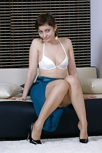 Kirsty Blue Pulls Down Her Long Skirt And Lays Downon Thefloor In Her White Lingerie